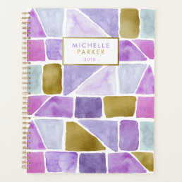 Purple and Pink Geometric Watercolor Shapes Planner