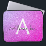 "Purple and Pink Glitter and Sparkle Monogram Laptop Sleeve<br><div class=""desc"">Purple and Hot Pink Faux Glitter and Sparkle Elegant Monogram Case. This case can be customized to include your initial and first name.</div>"