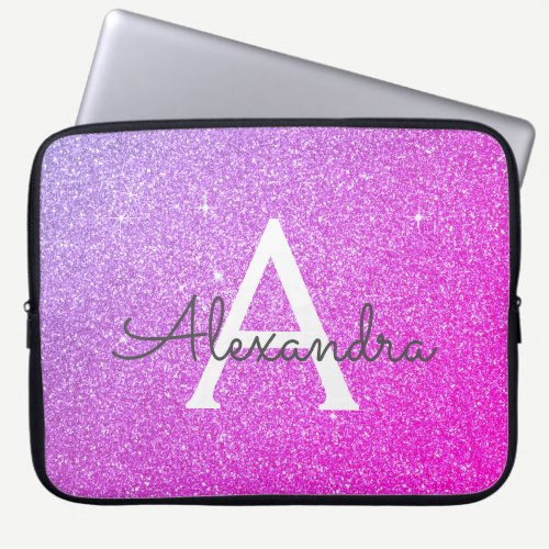 Purple and Pink Glitter and Sparkle Monogram Laptop Sleeve