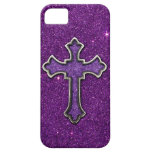 Purple and Pink Glitter Cross iPhone 5 Cases