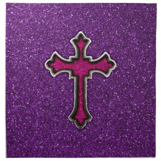 Purple and Pink Glitter Cross Cloth Napkin