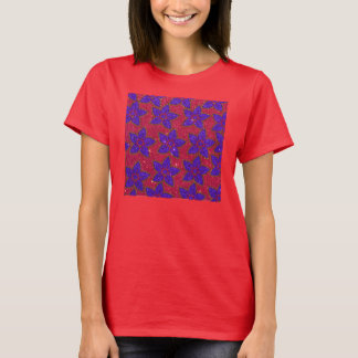 Purple and Pink Glitter Floral Print T-Shirt