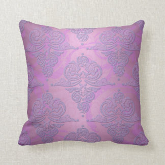 Purple and Pink Grunge Victorian Floral Damask Throw Pillow