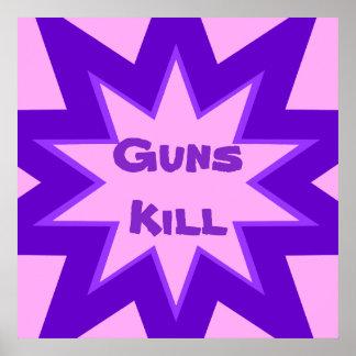 Purple and Pink Guns Kill Print