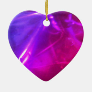 Purple And Pink Heart Ceramic Ornament