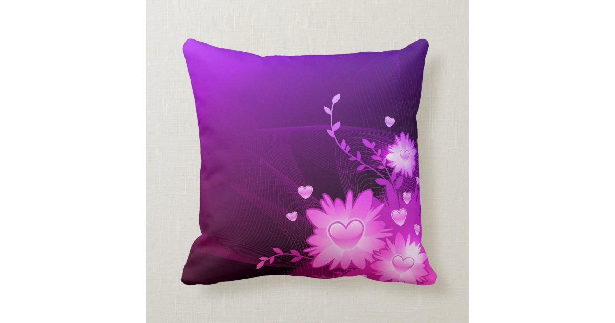 Pink Purple Decorative Pillows : Purple and Pink Heart Decorative Accent Pillow Zazzle