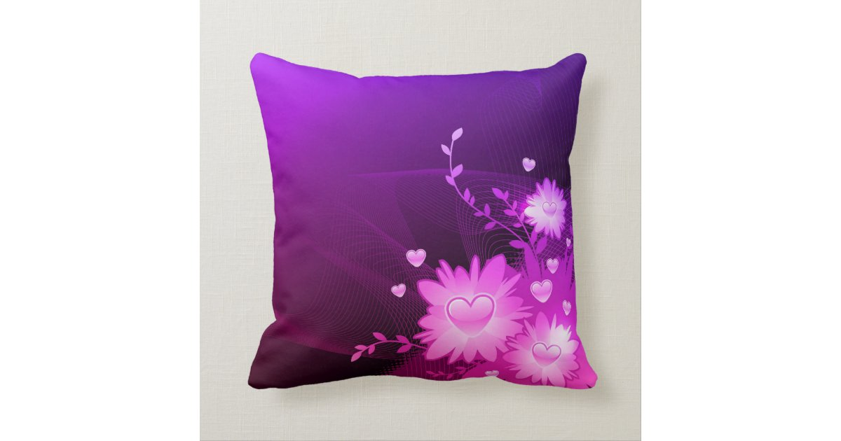 Purple and Pink Heart Decorative Accent Pillow Zazzle