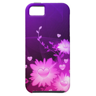 Purple and Pink Heart Floral Abstract iPhone 5 cas iPhone 5 Case