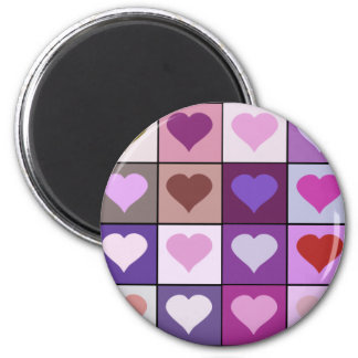 Purple and Pink Heart Squares 2 Inch Round Magnet