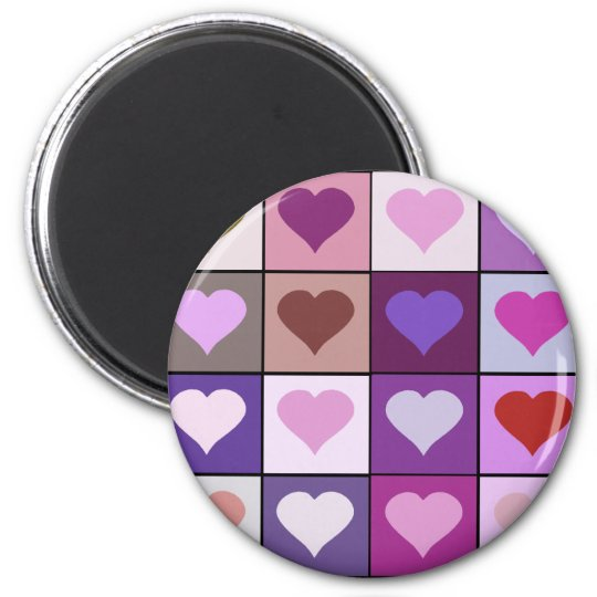 Purple and Pink Heart Squares Magnet
