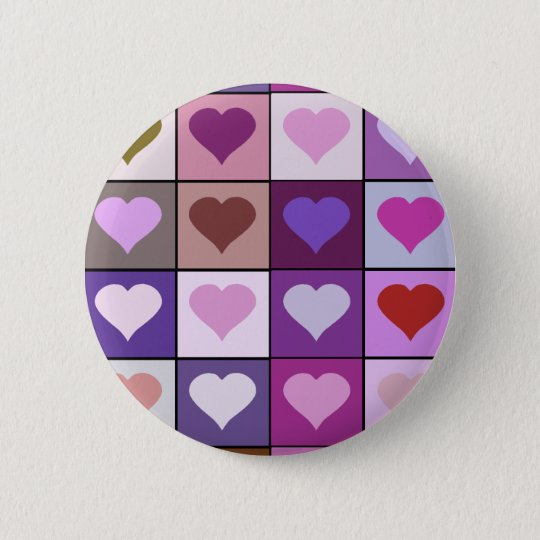 Purple and Pink Heart Squares Pinback Button