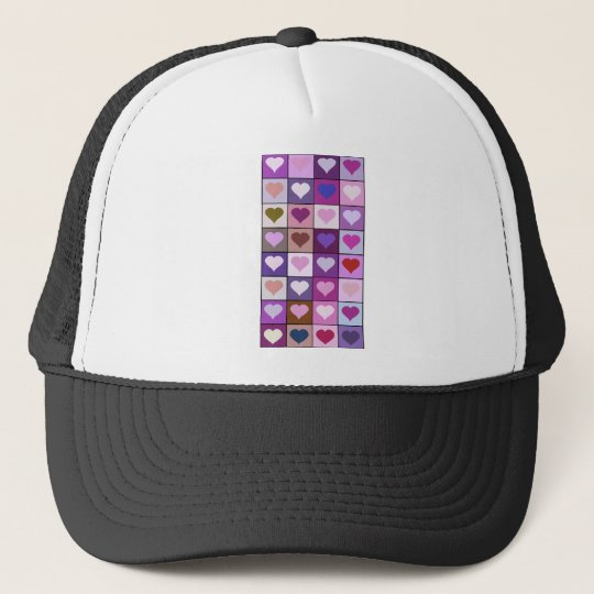 Purple and Pink Heart Squares Trucker Hat