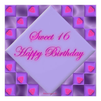Purple and Pink Heart Sweet 16 Birthday Poster