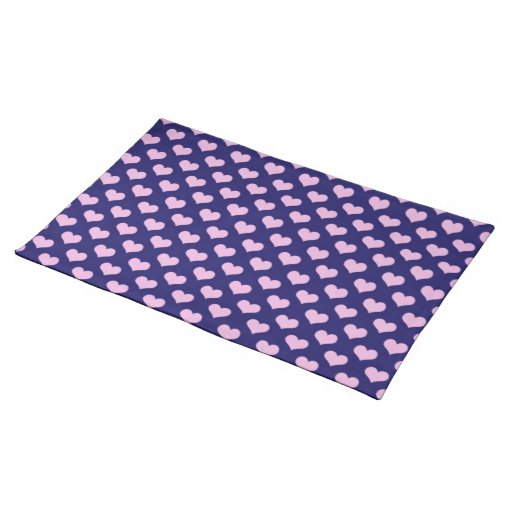 Purple And Pink Hearts Cloth Place Mat