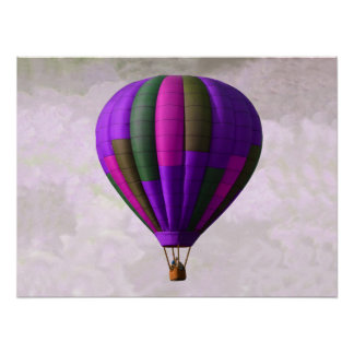 Purple and Pink Hot Air Balloon Poster