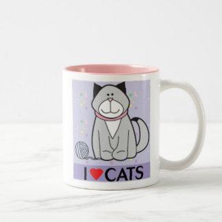 Purple and Pink I love Cats Two-Tone Coffee Mug