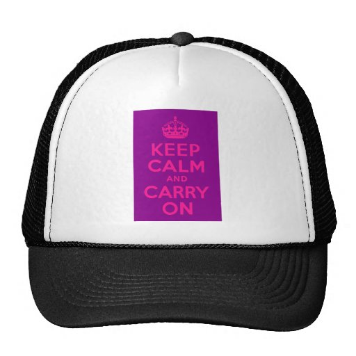 Purple and Pink Keep Calm and Carry On Trucker Hat
