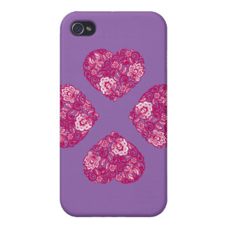 Purple and Pink lace heart phone case 1phone 4s