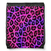 Purple and pink leopard print drawstring backpack