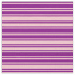 [ Thumbnail: Purple and Pink Lined Pattern Fabric ]
