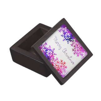 Purple and Pink Merry Chistmas Snowflakes Gift Box