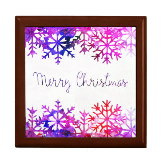 Purple and Pink Merry Chistmas Snowflakes Jewelry Box