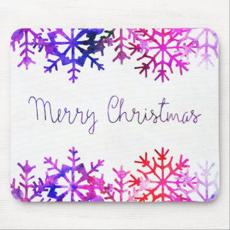 Purple and Pink Merry Chistmas Snowflakes Mouse Pad