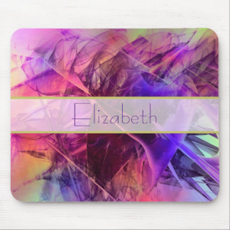 Purple and Pink Modern Abstract Fractal Design Mouse Pad