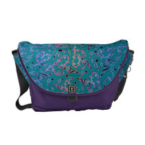 Purple and Pink Music Notes Pattern On Teal Bag