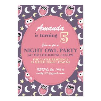 Purple and Pink Night Owl Birthday Invitation
