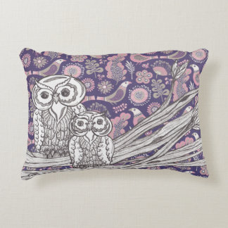 Purple and Pink Owls Accent Pillow