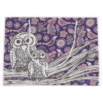 Purple and Pink Owls Large Gift Bag