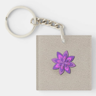Purple and Pink Paper Flower Keychain