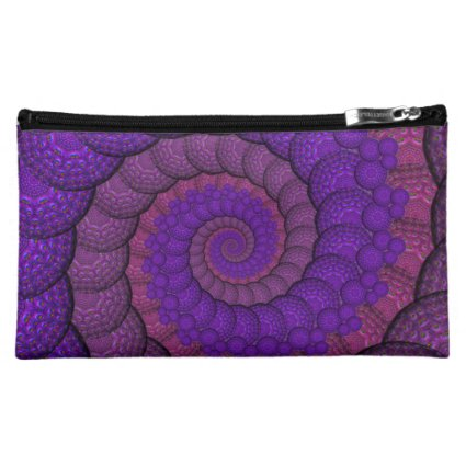 Purple and Pink Peacock Feather Fractal Cosmetic Bags