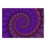Purple and Pink Peacock Feather Fractal Greeting Card