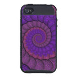 Purple and Pink Peacock Feather Fractal iPhone 4 Cover