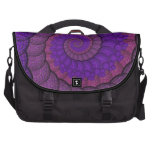 Purple and Pink Peacock Feather Fractal Laptop Computer Bag