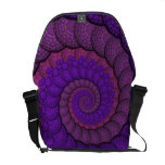 Purple and Pink Peacock Feather Fractal Courier Bag