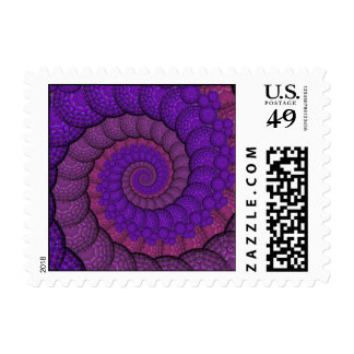 Purple and Pink Peacock Feather Fractal Stamps