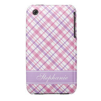 Purple and Pink Plaid Pattern iPhone 3 Cover