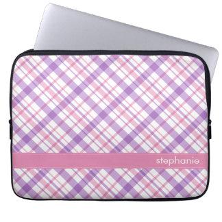 Purple and Pink Plaid Pattern Laptop Sleeve