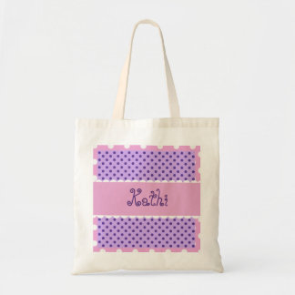 Purple and Pink Polka Dots Bride or Bridesmaid V35 Tote Bag