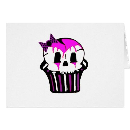 purple and pink skull cupcake card