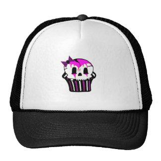 purple and pink skull cupcake mesh hat