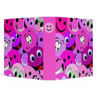 PURPLE AND PINK SMILEY FACES COLLAGE BINDER binder