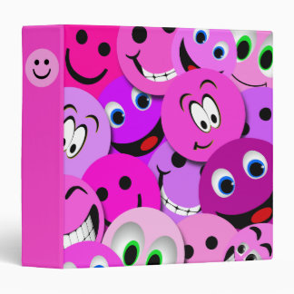 PURPLE AND PINK SMILEY FACES COLLAGE BINDER