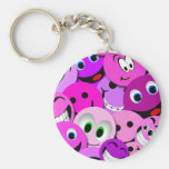 PURPLE AND PINK SMILEY FACES COLLAGE BASIC ROUND BUTTON KEYCHAIN