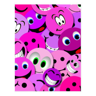 PURPLE AND PINK SMILEY FACES COLLAGE POSTCARD