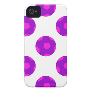 Purple and Pink Soccer Ball Pattern iPhone 4 Cases