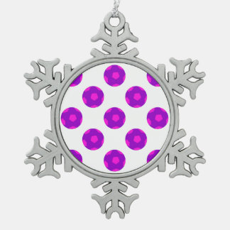 Purple and Pink Soccer Ball Pattern Snowflake Pewter Christmas Ornament